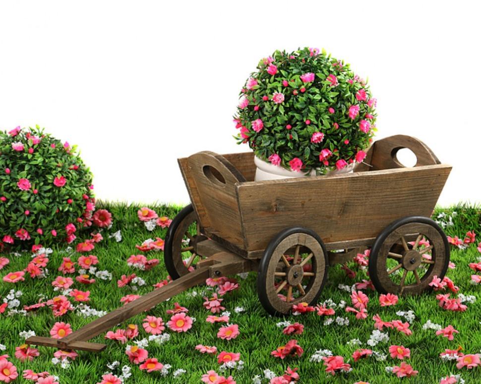 Садовая телега декоративная